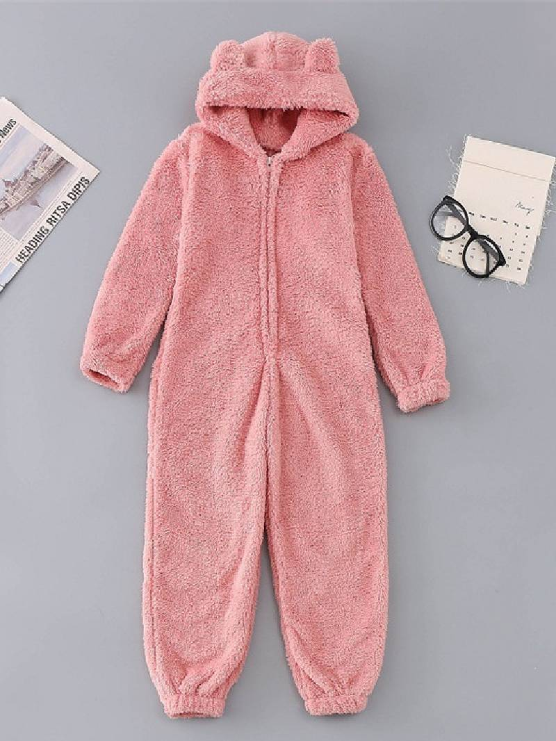 Flannel and Thick Jumpsuit Hooded Pajamas