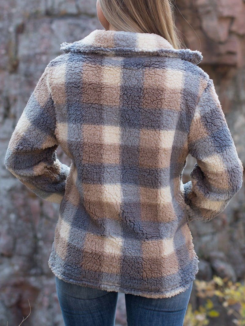 Plaid Fleece with Pocket Zipper Jacket Tops