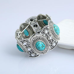 Silver-plated Diamond Turquoise Bracelet
