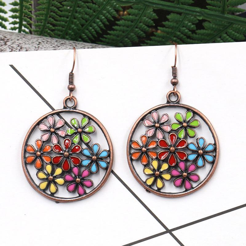 Openworked Colorful Sunflower Earrings