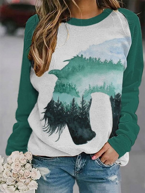 Horse Head Print Sweatshirt