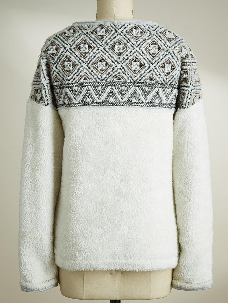 Fall/Winter Crew Neck Geometric Pattern Plush Sweatshirt Tops