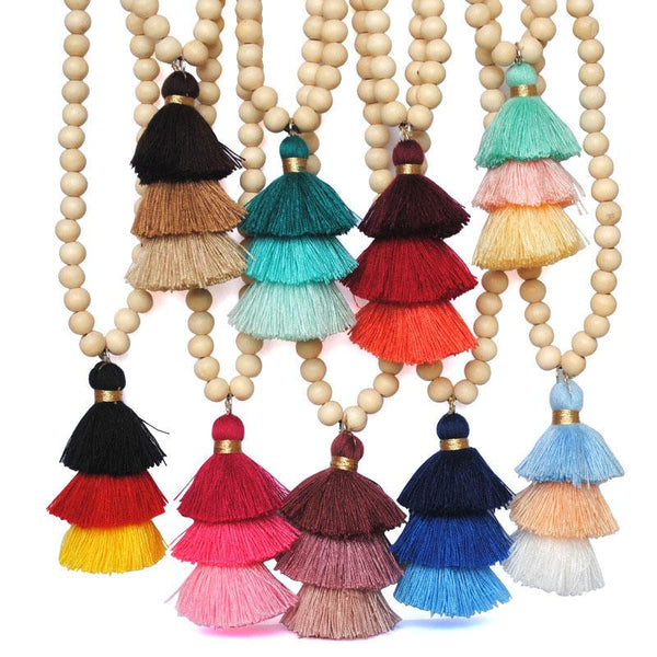 Colorful Three-layer Tassel Wheat Ears Long Necklace