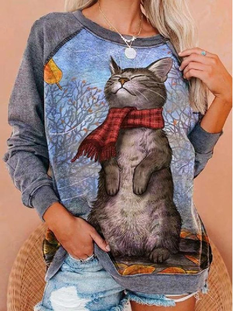 Long Sleeve Cat Print Loose Plus Size Women's Sweater
