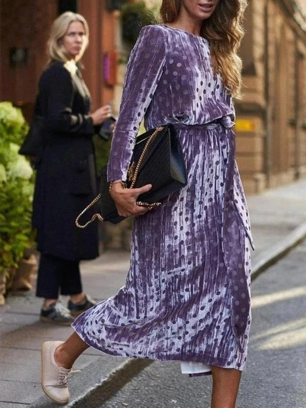Velvet Air Covered Midriff Purple Printing Waist Dress