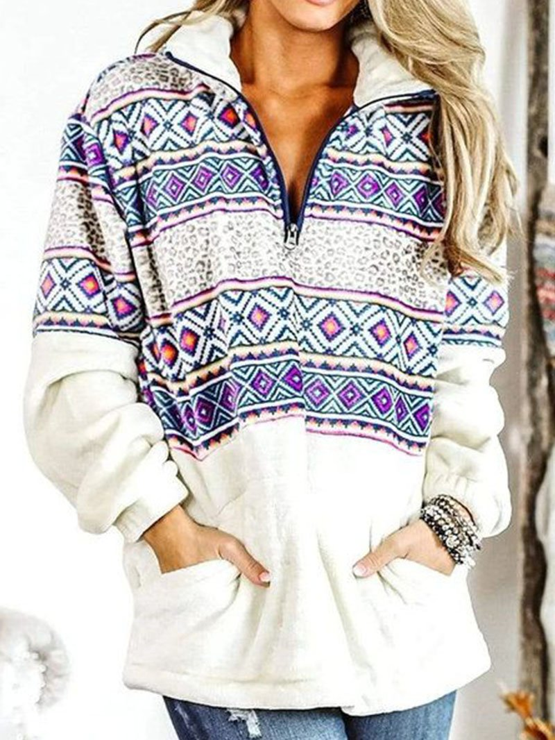 Women's Geometric Print Zipper Turtleneck Sweatshirt Tops