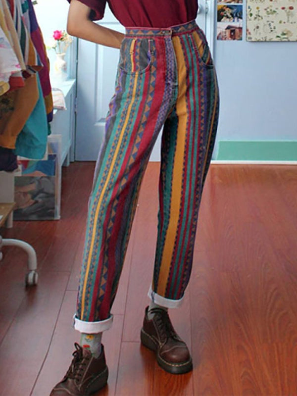 Fashion Multicolor Striped Casual Pants