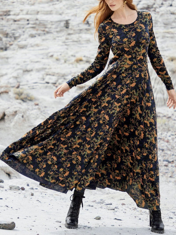Vintage Floral Big Skirt Long Sleeve Dress