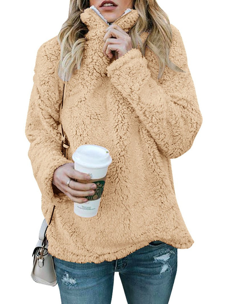 High neckline plush hooded casual pullover sweater