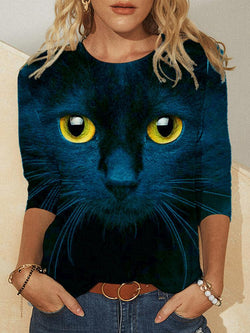 Cat Crew Neck Printed Long Sleeve Casual Top T-shirt