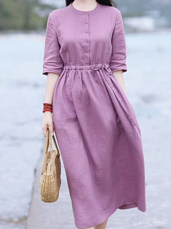 Round Neck Pastoral Style Cotton and Linen Dress