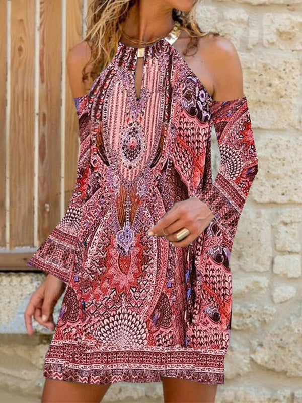 Bohemian Style Fashion Strapless Print Long Sleeve Dress