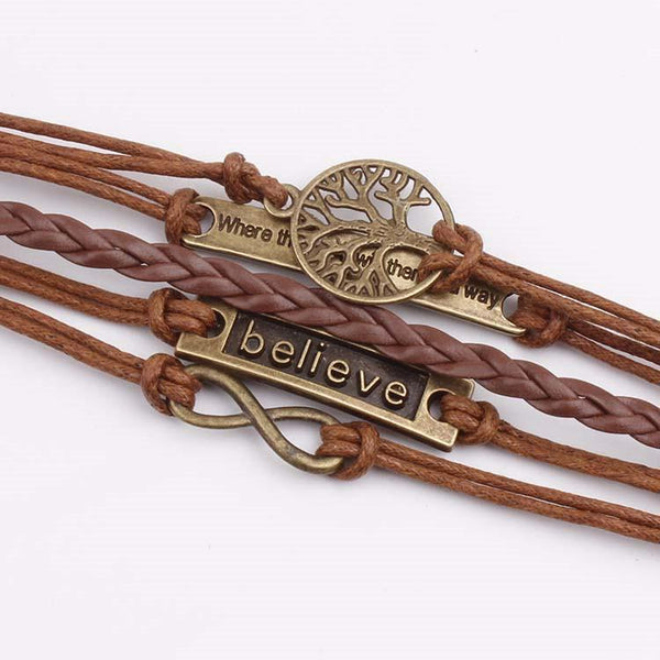 Life Tree Where Believe Vintage Leather Cord Bracelet