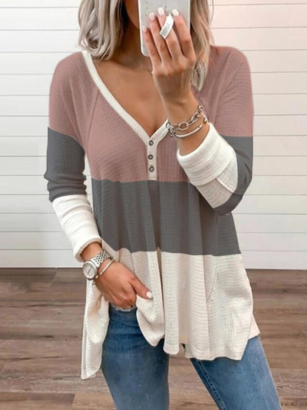 Women's Solid Color Color Blocking Long-sleeved Tops