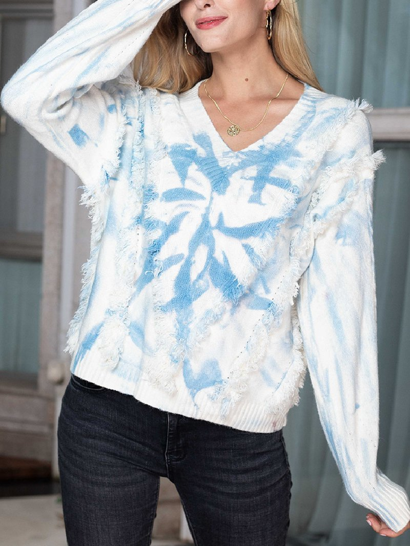 Women's Tie-dye Long-sleeved Tassel V-neck Knitted Sweater
