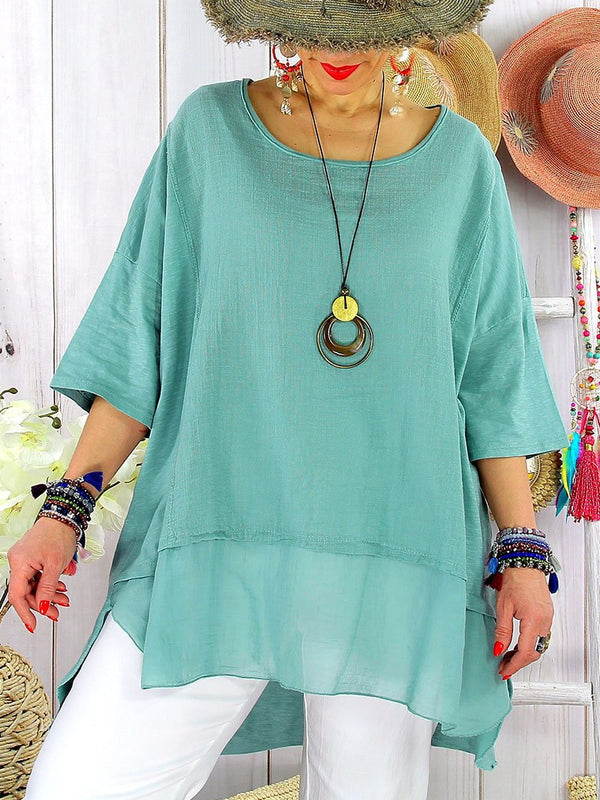 Cotton Linen Casual Loose Round Neck Top