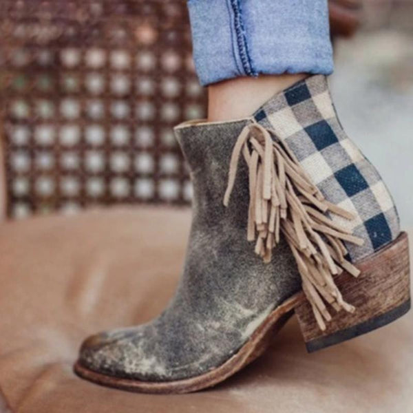 Autumn and winter new fringe plaid short boots thick with round head side zipper women's boots