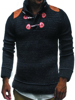 Men's stand collar long sleeve button knit sweater