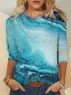 Fashion Round Neck Landscape Long Sleeve Top