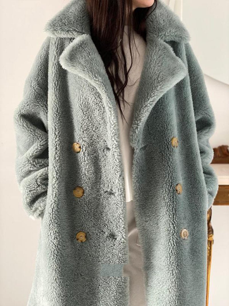 Thick Fashionable Lamb Woolen Coat