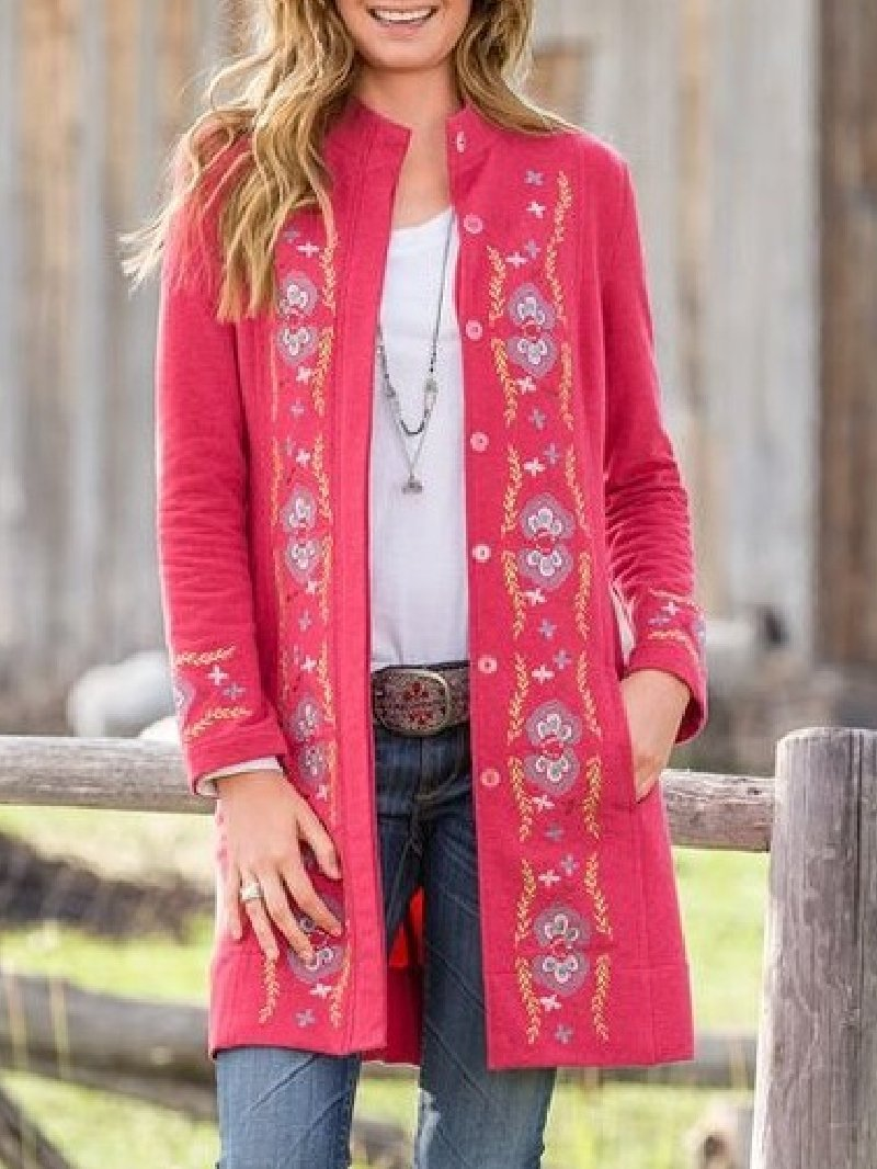 Casual Printed Long Sleeve Button Pocket Cardigan Coat