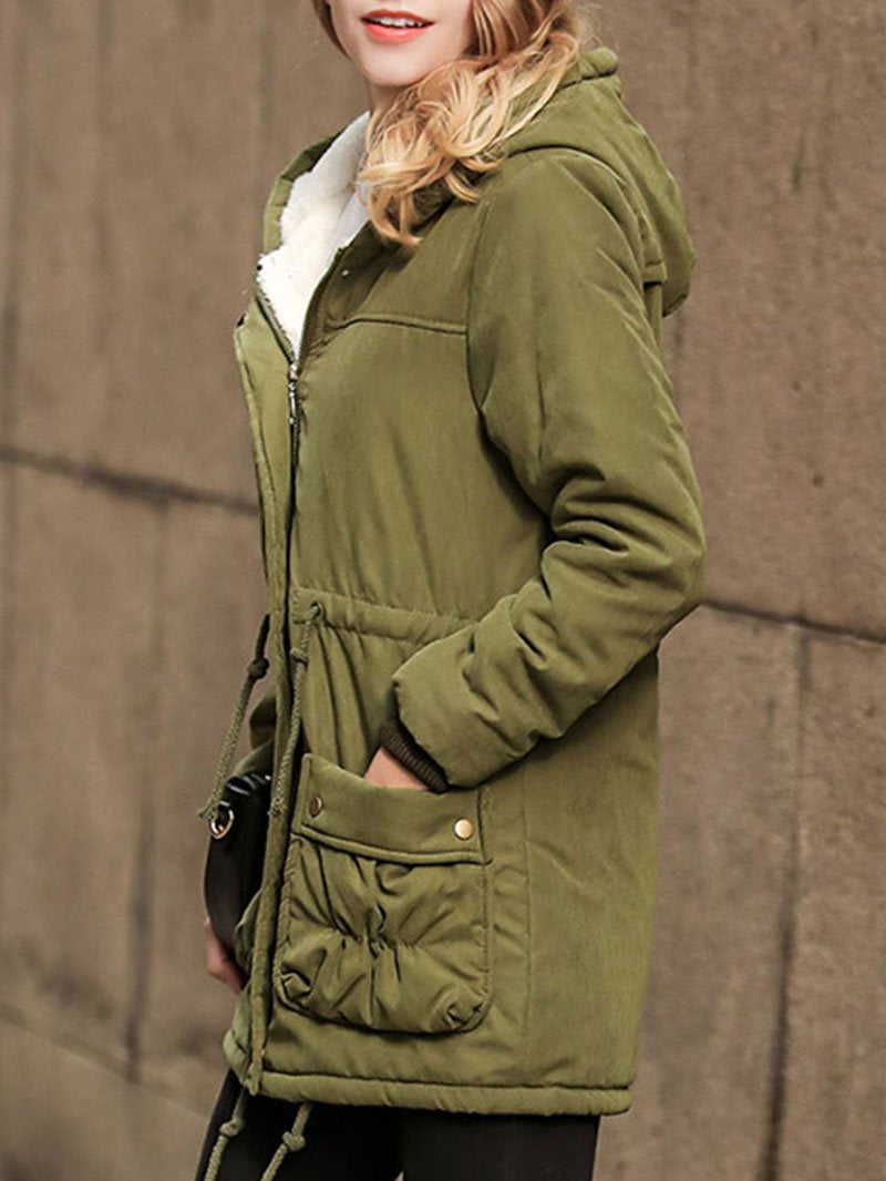Women's Slim Fit Mid-Length Lambswool Cotton Jacket Hooded Coat