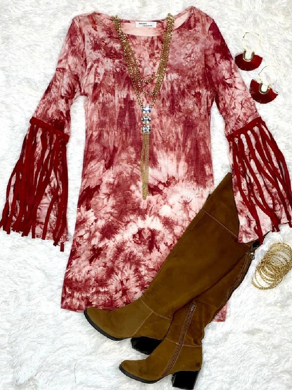 Vintage Tie-dye Printed Fringe Long Sleeve Dress