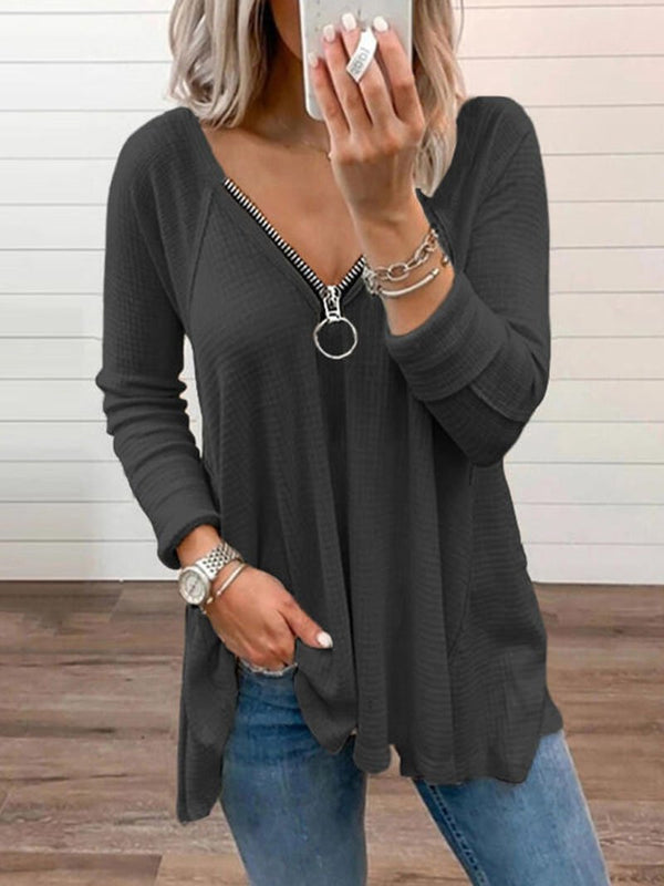 Women's Solid Color Zipper Edge Long Sleeve Tops