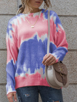 Women's Tie-dye Contrast Color Long-sleeved Knitted Sweater