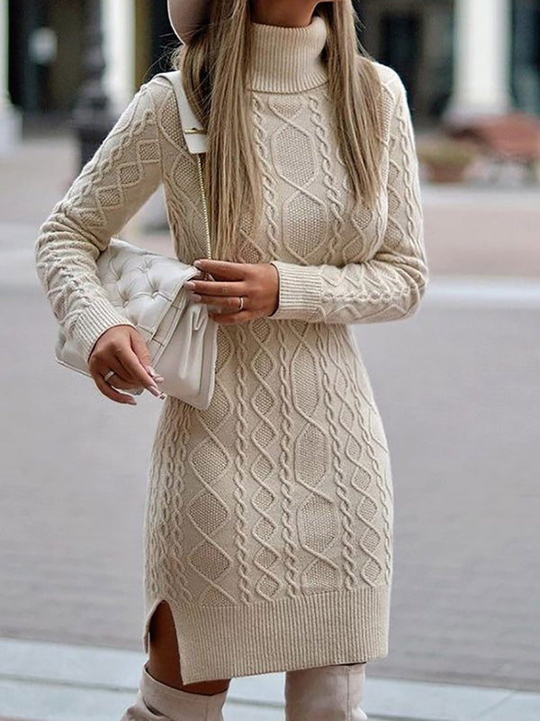 Women's Fashion Casual Winter Knitted Short Dress