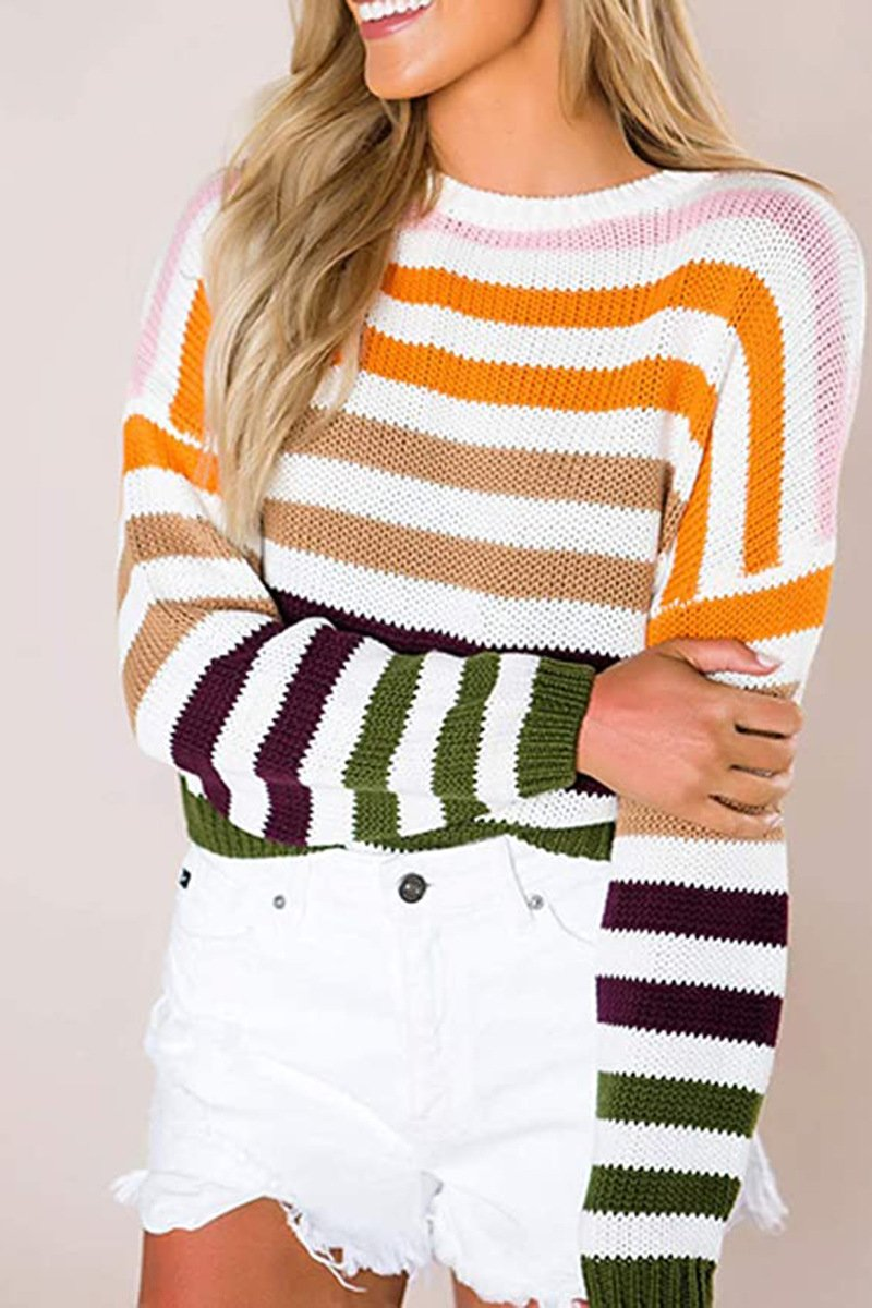 Striped Knit Round Neck Sweater