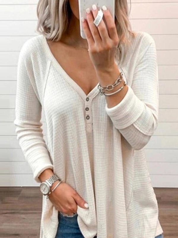 Women's Solid Color Button Down Long Sleeve Tops