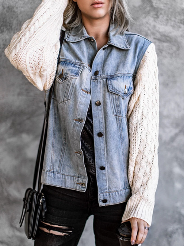 Sweater Stitching Denim Jacket