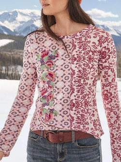 Casual Print Round Neck Long Sleeve Top