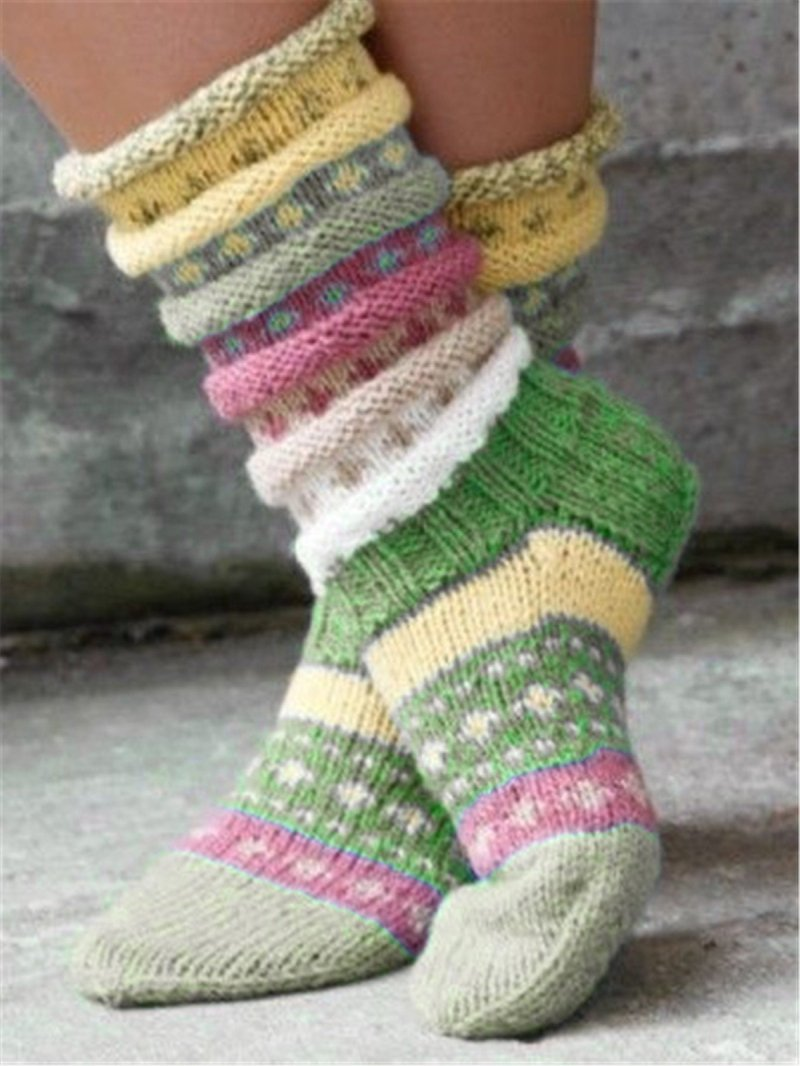 Winter Color Matching Long Tube Warm Pile Socks