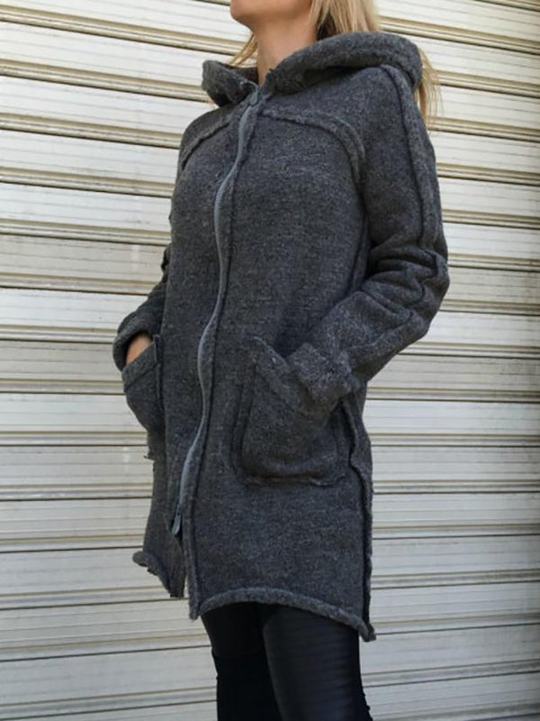 Patchwork design jacket with hood