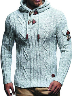 Men's Long Sleeve Knitted Sweater with Hood