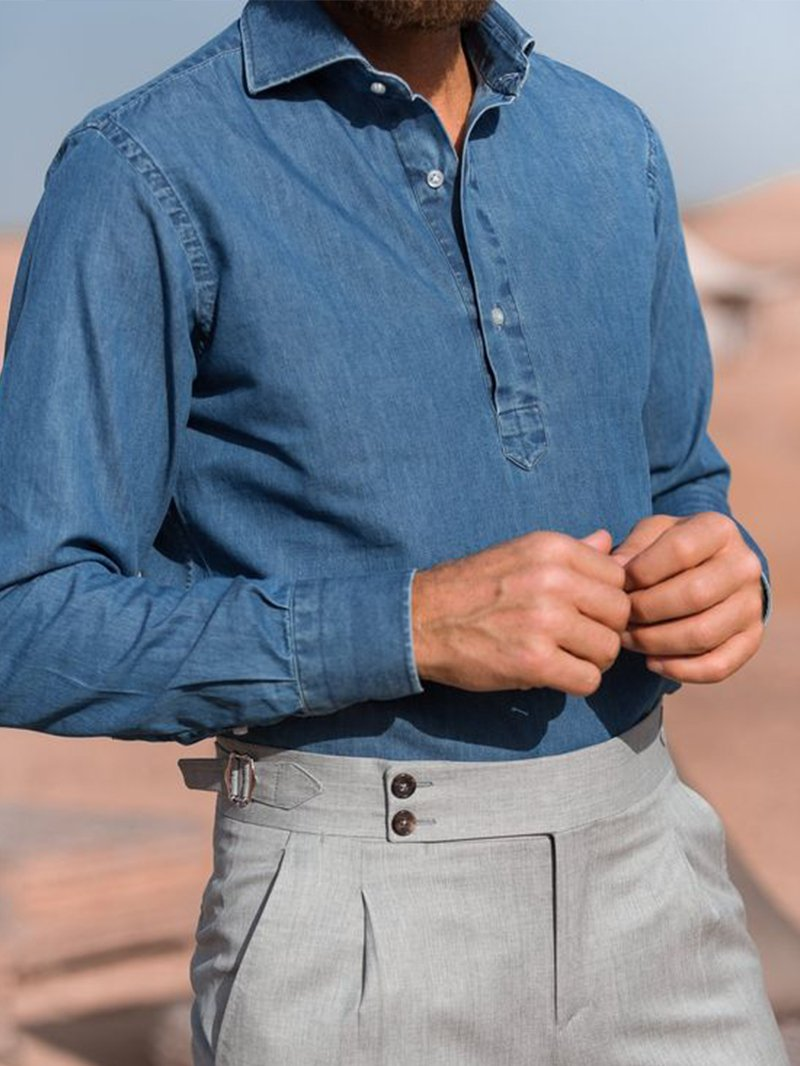Solid Denim Long Sleeve Shirt