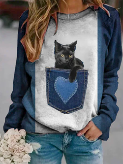 Cat Printed O-neck Long Sleeve Sweatshirt