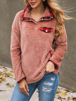Women's Thick Plaid Pocket Sweater