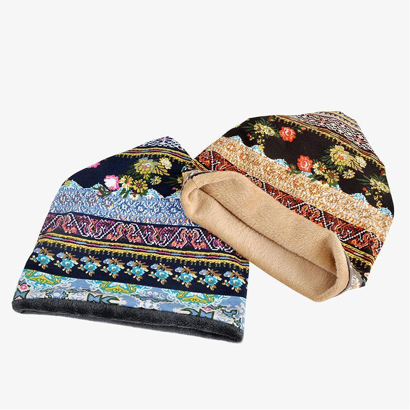 Women's printed pattern cotton flannel windproof ear protection warm head cap