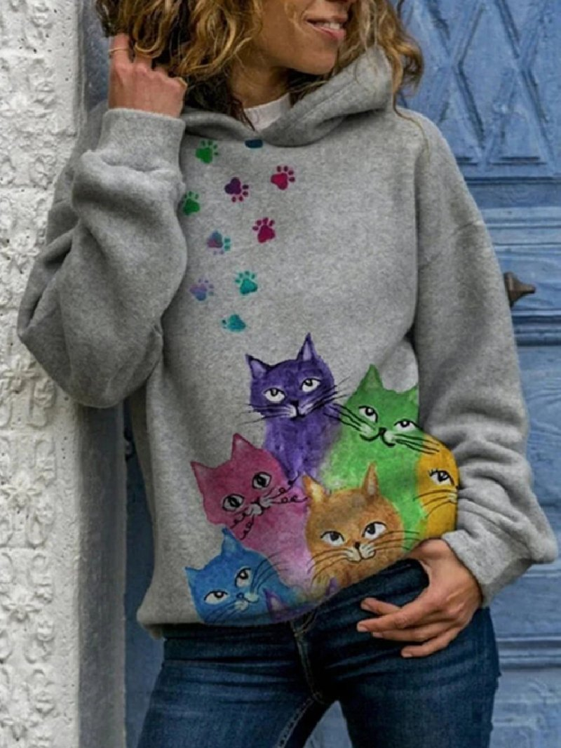 Autumn Winter Cat Print Loose Hooded Printed Sweatshirt