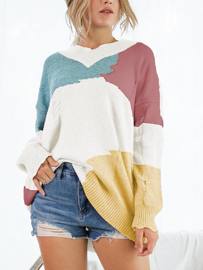Women's Knitted Long-sleeved Tie-dye Sweater