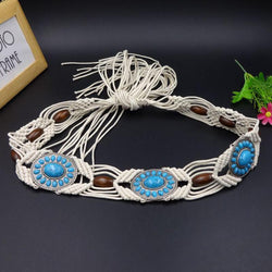 Wax Rope Woven Turquoise Decorative Belt
