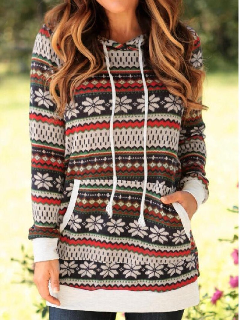 Vintage Long Sleeve Print Hooded Sweatshirt