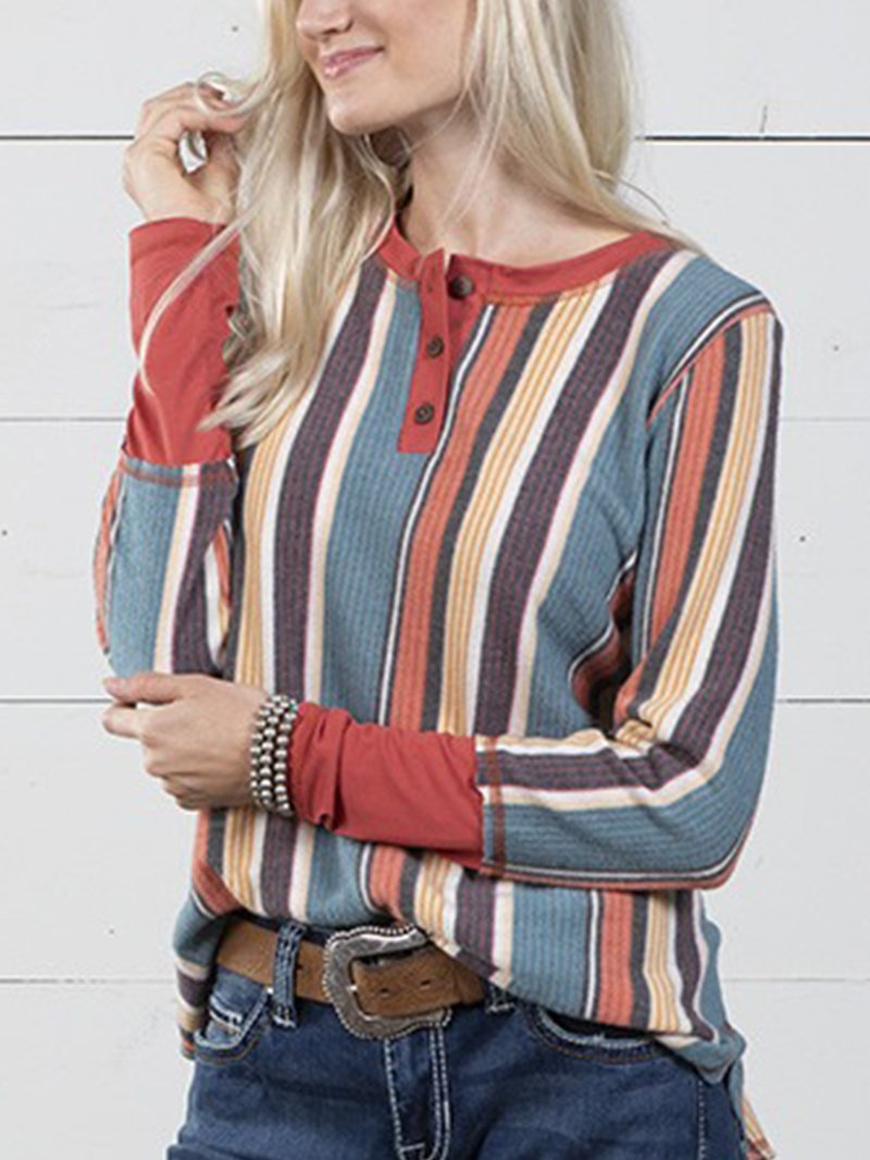 Women's Resort Rustic Sunset Striped Slimming Top
