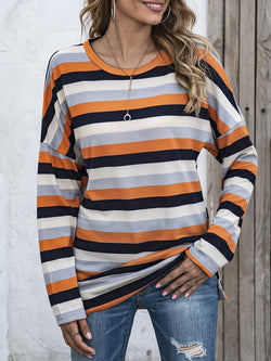 Fall & Winter Striped Crew Neck Oversized T-Shirt Top