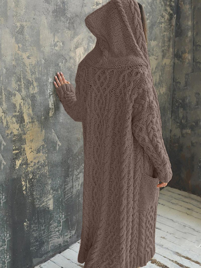 Braided Hooded Long Cardigan Sweater