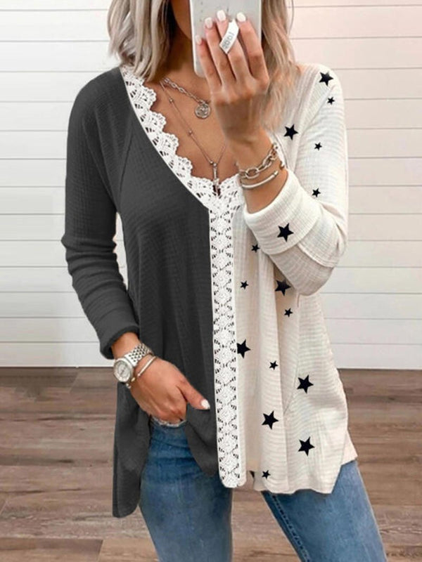 Women's Color Blocking Stars Lace Edge Long-sleeved Tops