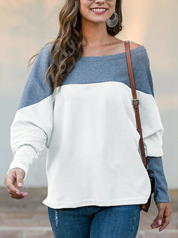 Color-matched Loose Sweatshirt Top